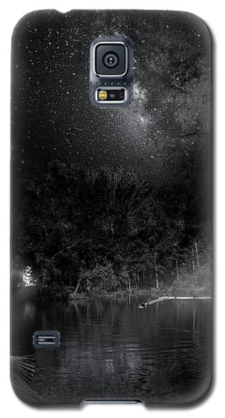 Galaxy S5 Case featuring the photograph Campfires On Milky Way River by Mark Andrew Thomas
