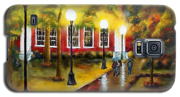 Galaxy S5 Case featuring the painting Campus Rain by Chris Fraser