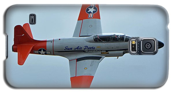 Galaxy S5 Case featuring the photograph Canadair Ct-133 Silver Star Nx377jp Pacemaker Chino California April 30 2016 by Brian Lockett