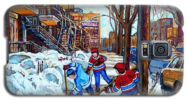 Canadian Art Street Hockey Game Verdun Montreal Memories Winter City Scene Paintings Carole Spandau Galaxy S5 Case