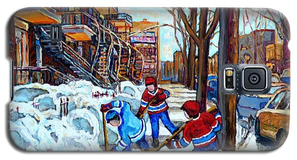 Canadian Art Street Hockey Game Verdun Montreal Memories Winter City Scene Paintings Carole Spandau Galaxy S5 Case