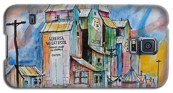 Galaxy S5 Case featuring the painting Canadian Grain Elevators by Terry Banderas