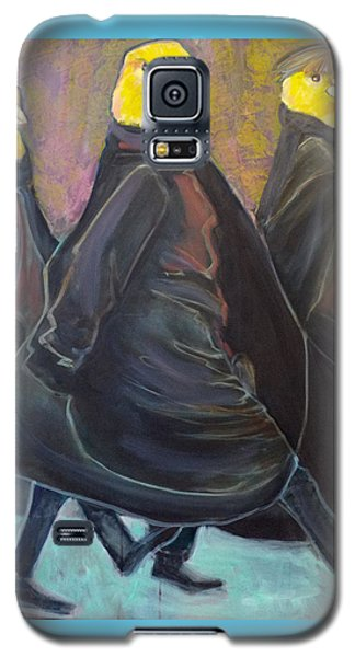 Galaxy S5 Case featuring the painting Canaries On Parade by Irena Mohr