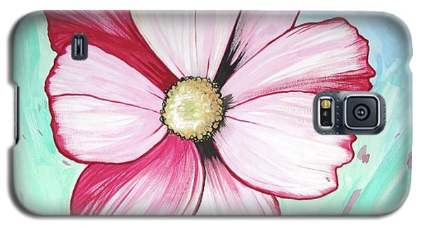 Galaxy S5 Case featuring the painting Candy Stripe Cosmos by Mary Ellen Frazee