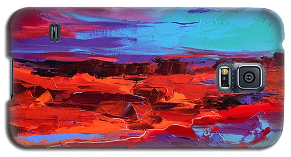 Galaxy S5 Case featuring the painting Canyon At Dusk - Art By Elise Palmigiani by Elise Palmigiani