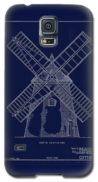 Galaxy S5 Case featuring the photograph Historic Cape Cod Windmill Blueprint by John Stephens