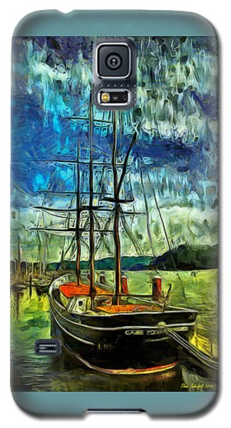 Galaxy S5 Case featuring the photograph Cape Foulweather Tall Ship by Thom Zehrfeld
