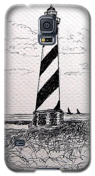 Galaxy S5 Case featuring the drawing Cape Hatteras Lighthouse Nc by Julie Brugh Riffey