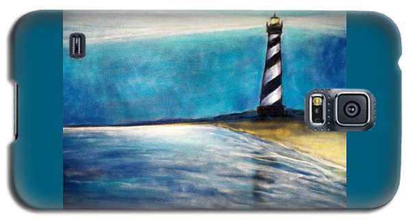 Galaxy S5 Case featuring the pastel Cape Hatteras Lighthouse Night Glow by Patricia L Davidson