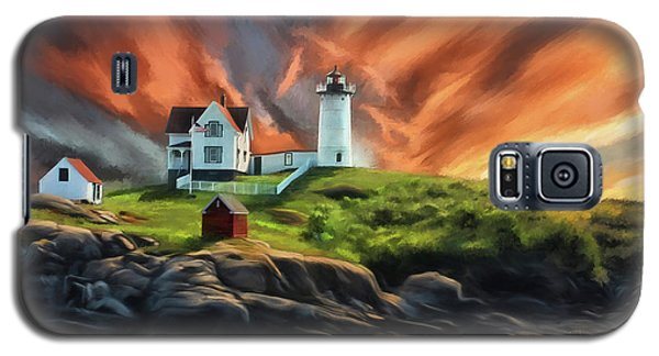 Galaxy S5 Case featuring the digital art Cape Neddick Nubble Lighthouse by Lois Bryan