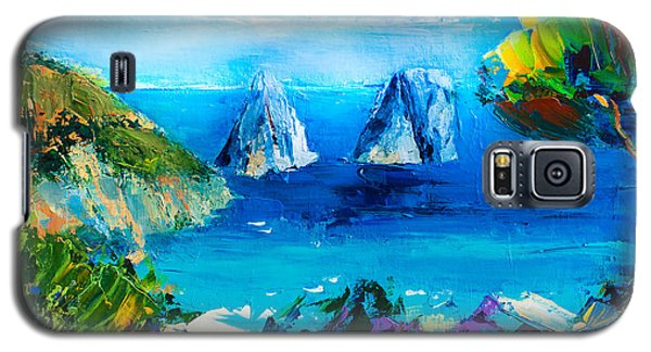 Galaxy S5 Case featuring the painting Capri Colors by Elise Palmigiani