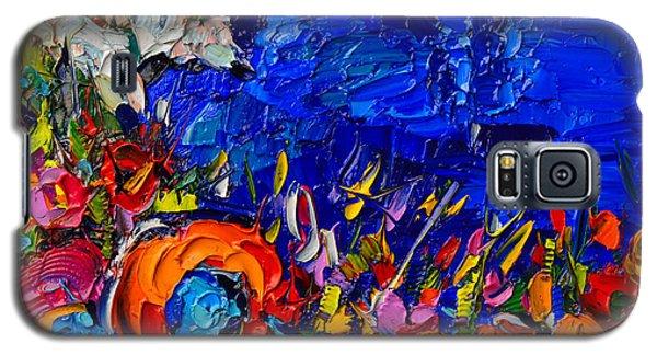 Capri Faraglioni Italy Colors Modern Impressionist Palette Knife Oil Painting By Ana Maria Edulescu  Galaxy S5 Case