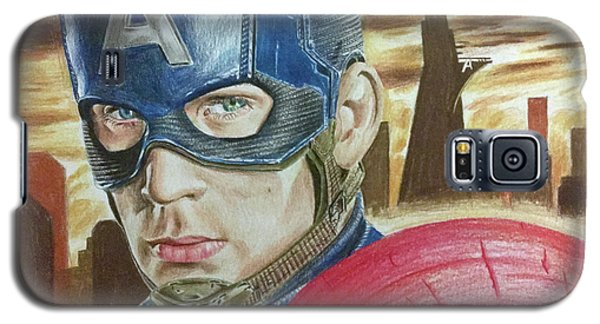 Galaxy S5 Case featuring the drawing Captain America by Michael McKenzie