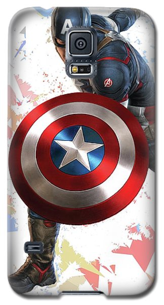 Galaxy S5 Case featuring the mixed media Captain America Splash Super Hero Series by Movie Poster Prints