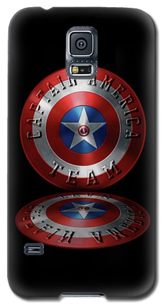 Galaxy S5 Case featuring the painting Captain America Team Typography On Captain America Shield  by Georgeta Blanaru