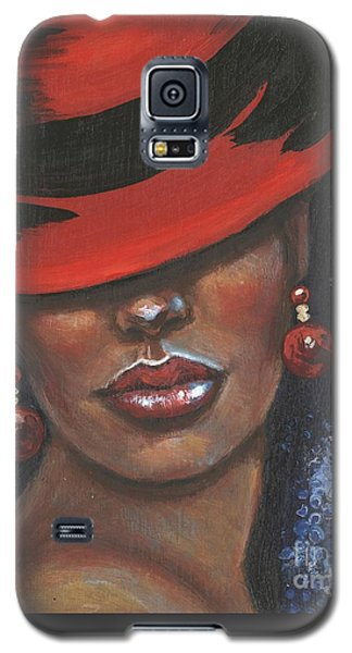Galaxy S5 Case featuring the painting Carbaret Red by Alga Washington