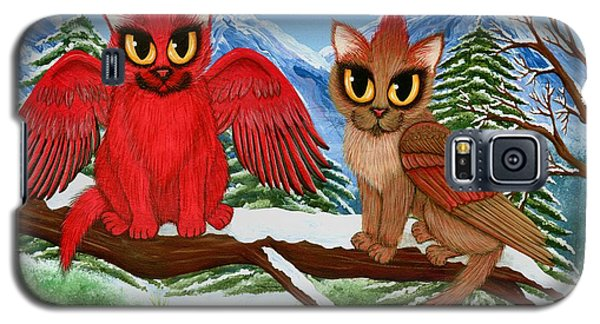 Galaxy S5 Case featuring the painting Cardinal Cats by Carrie Hawks