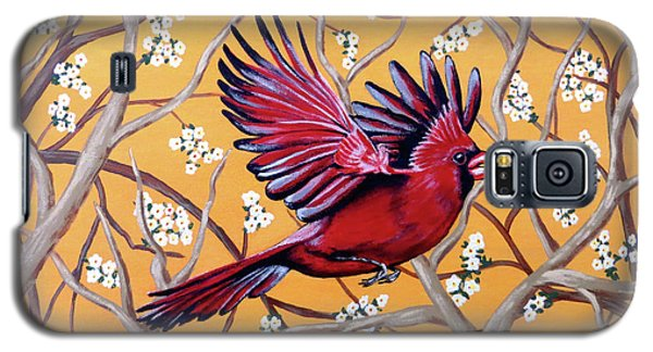Galaxy S5 Case featuring the painting Cardinal In Flight by Teresa Wing