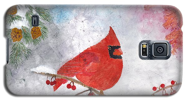 Cardinal With Red Berries And Pine Cones Galaxy S5 Case