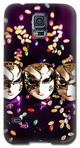 Carnival Mask Jewelry On Purple Background Galaxy S5 Case by Jorgo Photography - Wall Art Gallery
