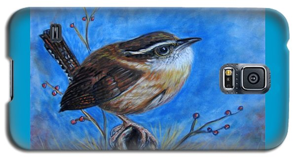 Galaxy S5 Case featuring the painting Carolina Wren by Patricia L Davidson