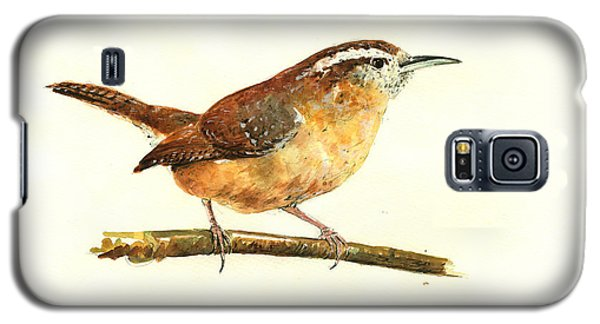 Carolina Wren Watercolor Painting Galaxy S5 Case by Juan  Bosco