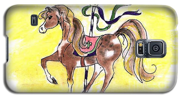 Galaxy S5 Case featuring the drawing Carousel Horse by Vonda Lawson-Rosa