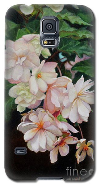 Galaxy S5 Case featuring the painting Cascade Of Begonias  by Margit Sampogna
