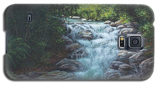 Galaxy S5 Case featuring the painting Cascading Stream by Kim Lockman