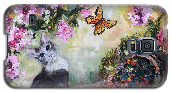 Galaxy S5 Case featuring the painting Cat And Butterflies In Cottage Garden by Ginette Callaway