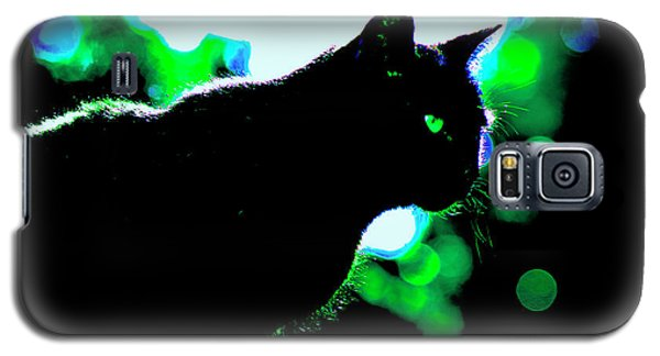 Cat Bathed In Green Light Galaxy S5 Case by Gina O'Brien