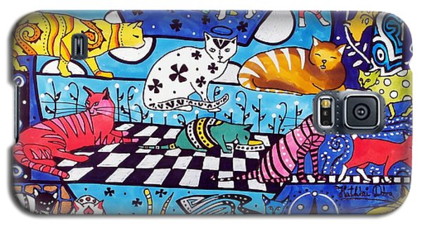 Galaxy S5 Case featuring the painting Cat Cocktail - Cat Art By Dora Hathazi Mendes by Dora Hathazi Mendes