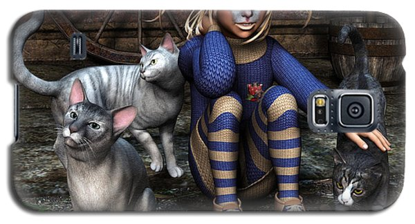 Cat Girl Galaxy S5 Case by Jutta Maria Pusl