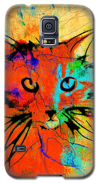 Cat In Red And Yellow Galaxy S5 Case by Ann Powell