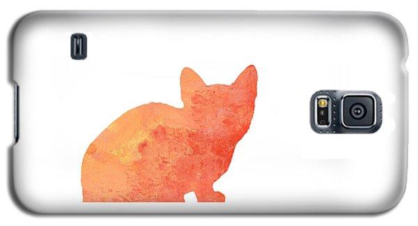 Watercolor Orange Cat Silhouette Galaxy S5 Case