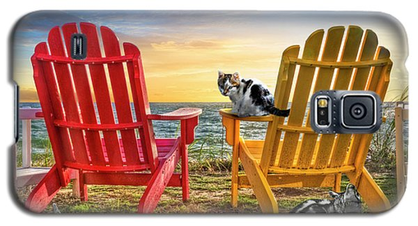 Galaxy S5 Case featuring the photograph Cat Nap At The Beach by Debra and Dave Vanderlaan