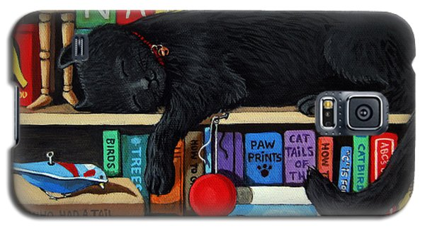 Cat Nap - Orginal Black Cat Painting Galaxy S5 Case by Linda Apple