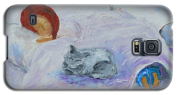 Galaxy S5 Case featuring the painting Cat Nap  by Reina Resto