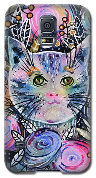 Galaxy S5 Case featuring the painting Cat On Flower Bed by Zaira Dzhaubaeva