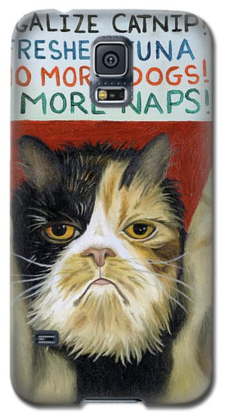 Galaxy S5 Case featuring the painting Cat On Strike by Leah Saulnier The Painting Maniac