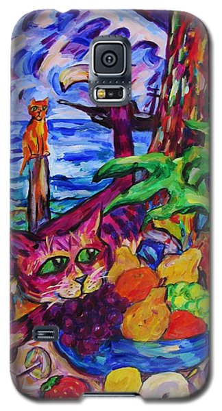 Cat On Table Bad Puss Galaxy S5 Case by Dianne  Connolly