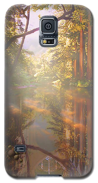 Galaxy S5 Case featuring the painting Cathedral Redwoods by Robby Donaghey