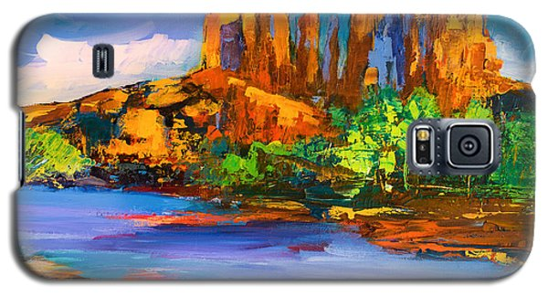 Galaxy S5 Case featuring the painting Cathedral Rock Afternoon by Elise Palmigiani
