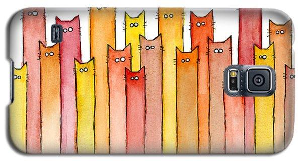 Watercolor Galaxy S5 Case - Cats Autumn Colors by Olga Shvartsur