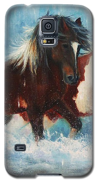 Galaxy S5 Case featuring the painting Caught In The Rain  Close Up by Karen Kennedy Chatham
