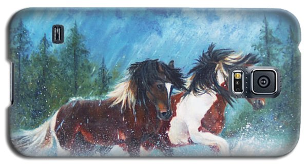 Galaxy S5 Case featuring the painting Caught In The Rain  by Karen Kennedy Chatham