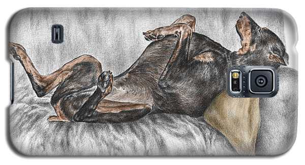 Galaxy S5 Case featuring the drawing Caution Guard Dog - Doberman Pinscher Print Color Tinted by Kelli Swan