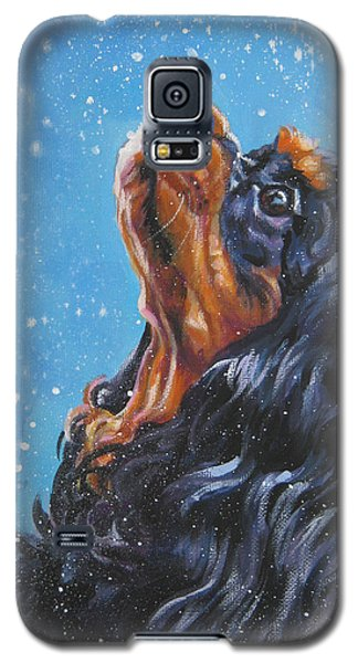 Cavalier King Charles Spaniel Black And Tan In Snow Galaxy S5 Case