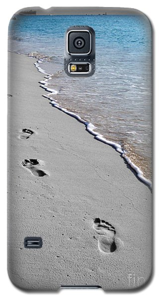 Galaxy S5 Case featuring the digital art Cayman Footprints Color Splash Black And White by Shawn O'Brien