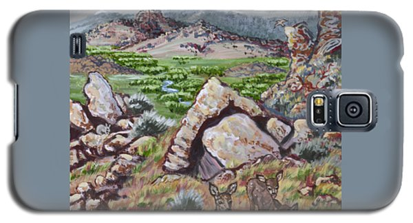 Galaxy S5 Case featuring the painting Cedar Breaks View With Mule Deer by Dawn Senior-Trask